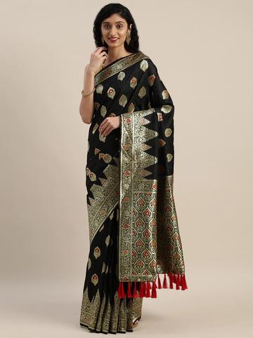 Vastranand | VASTRANAND  Black & Gold-Toned Silk Blend Woven Design Kanjeevaram Saree