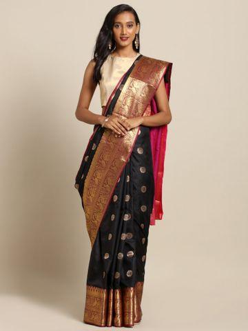 Vastranand | VASTRANAND  Black & Gold-Toned Silk Blend Printed Kanjeevaram Saree