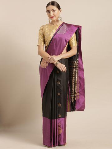 Vastranand | VASTRANAND  Black Silk Blend Solid Kanjeevaram Saree