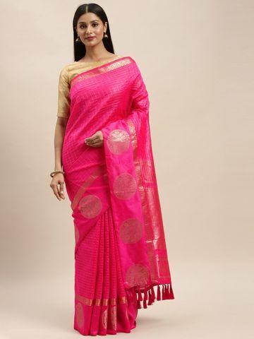 Vastranand | VASTRANAND Pink Silk Blend Checked Banarasi Saree