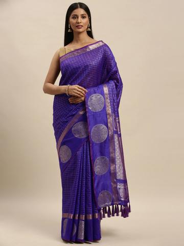 Vastranand   VASTRANAND Purple & Silver-Toned Silk Blend Checked Banarasi Saree