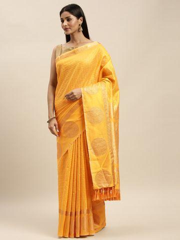 Vastranand | VASTRANAND Yellow & Gold-Toned Silk Blend Checked Banarasi Saree