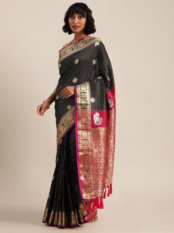 Vastranand | VASTRANAND  Black & Gold-Toned Silk Blend Embellished Banarasi Saree