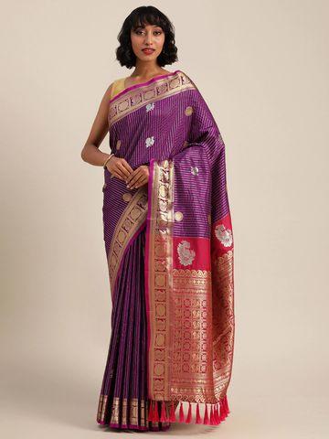 Vastranand | VASTRANAND  Lavender Silk Blend Embellished Banarasi Saree