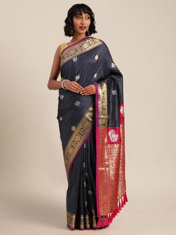 Vastranand | VASTRANAND  Navy Silk Blend Woven Design Banarasi Saree
