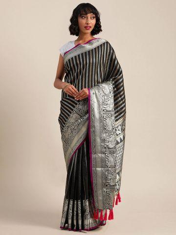 Vastranand | VASTRANAND  Black & Silver-Toned Silk Blend Striped Banarasi Saree