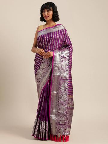 Vastranand | VASTRANAND  Lavender & Silver-Toned Silk Blend Embellished Banarasi Saree