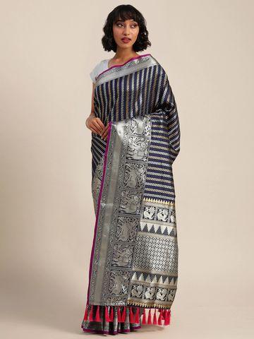 Vastranand | VASTRANAND  Navy & Silver-Toned Silk Blend Embellished Banarasi Saree
