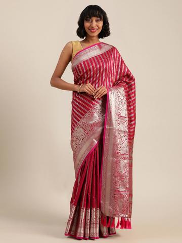Vastranand | VASTRANAND  Pink & Silver-Toned Silk Blend Embellished Banarasi Saree