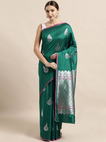 Vastranand | VASTRANAND  Teal Green & Silver-Toned Silk Blend Woven Design Banarasi Saree