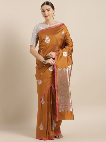 Vastranand | VASTRANAND  Brown Silk Blend Woven Design Banarasi Saree