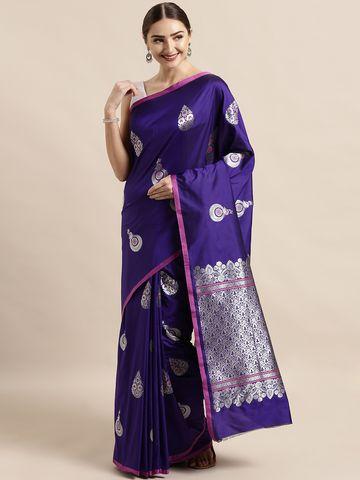 Vastranand   VASTRANAND  Purple Silk Blend Woven Design Banarasi Saree