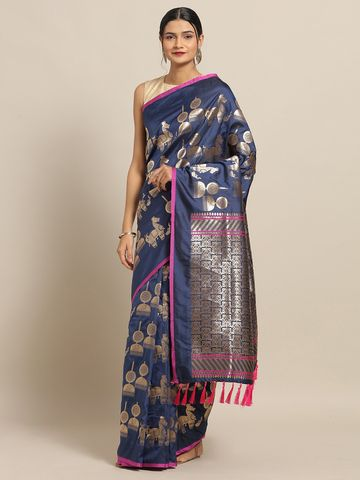 Vastranand | VASTRANAND Navy Blue & Gold-Toned Silk Blend Woven Design Banarasi Saree