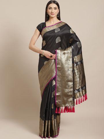 Vastranand | VASTRANAND  Black & Golden Woven Design Banarasi Saree