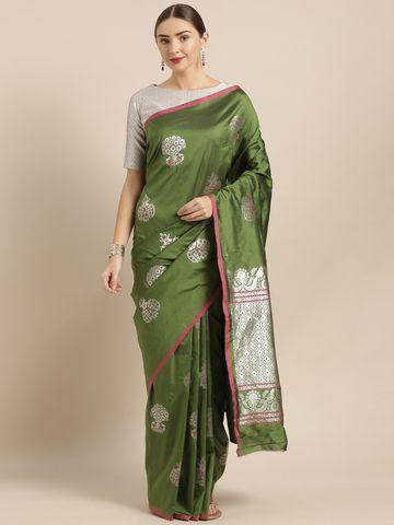 Vastranand   VASTRANAND  Olive Green Silk Blend Woven Design Banarasi Saree
