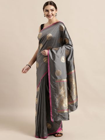 Vastranand | VASTRANAND  Grey & Gold-Toned Silk Blend Woven Design Banarasi Saree