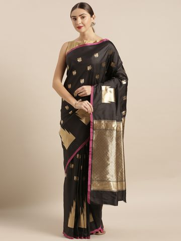 Vastranand | VASTRANAND  Black & Gold-Coloured Silk Blend Woven Design Banarasi Saree