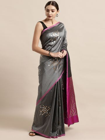 Vastranand | VASTRANAND  Grey Silk Blend Woven Design Banarasi Saree