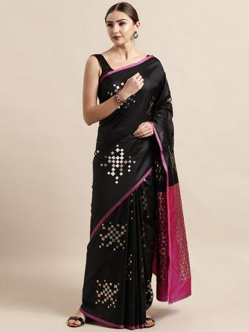 Vastranand | VASTRANAND  Black Silk Blend Woven Design Banarasi Saree