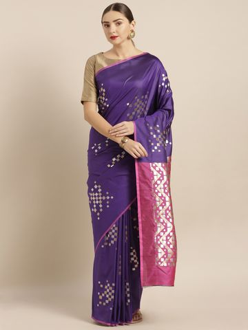 Vastranand | VASTRANAND  Purple & Silver-Toned Silk Blend Woven Design Banarasi Saree