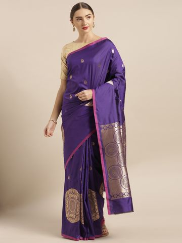 Vastranand | VASTRANAND  Purple & Gold-Toned Silk Blend Woven Design Banarasi Saree