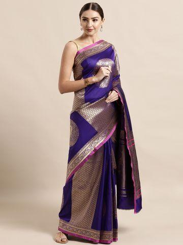Vastranand   VASTRANAND  Purple & Gold-Coloured Silk Blend Woven Design Banarasi Saree