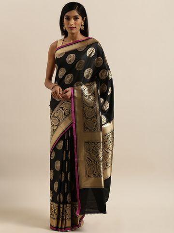 Vastranand   VASTRANAND  Black & Gold-Colored Silk Blend Woven Design Banarasi Saree