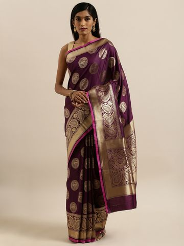 Vastranand | VASTRANAND  Burgundy & Gold-Colored Silk Blend Woven Design Banarasi Saree