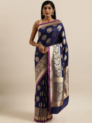 Vastranand | VASTRANAND  Navy Blue & Gold-Toned Silk Blend Printed Banarasi Saree