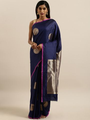 Vastranand | VASTRANAND  Navy Blue & Gold-Toned Silk Blend Printed Banarasi Saree