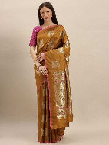 Vastranand | VASTRANAND  Mustard Yellow & Gold-Toned Silk Blend Woven Design Kanjeevaram Saree