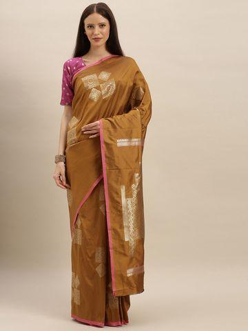 Vastranand   VASTRANAND  Mustard Yellow & Gold-Toned Silk Blend Woven Design Kanjeevaram Saree