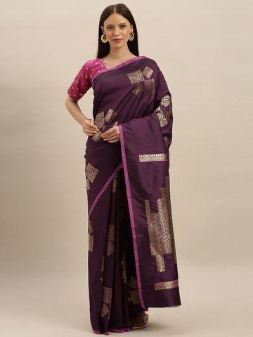 Vastranand | VASTRANAND  Burgundy & Gold-Toned Silk Blend Printed Kanjeevaram Saree