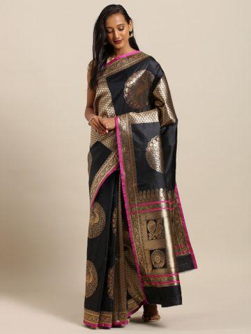 Vastranand | VASTRANAND  Black Silk Blend Woven Design Kanjeevaram Saree