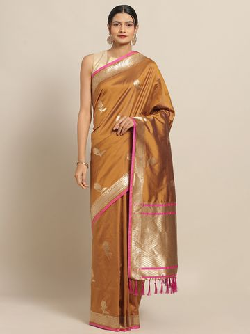 Vastranand | VASTRANAND Yellow New Soft Silk Banarasi Rose Kesari Paithani Saree