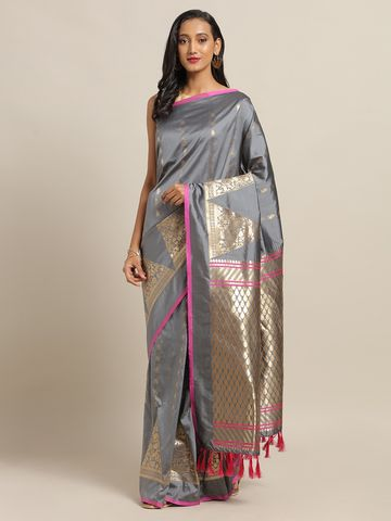 Vastranand | VASTRANAND Grey & Golden Silk Blend Woven Design Banarasi Saree