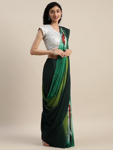 Vastranand | VASTRANAND  Green & Red Pure Crepe Printed Saree