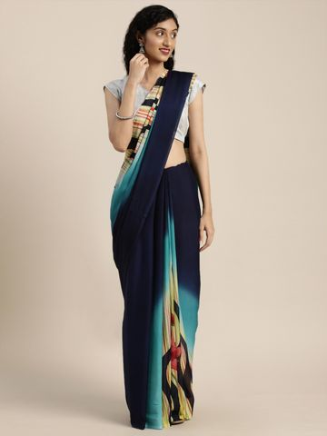 Vastranand | VASTRANAND  Navy Blue & Yellow Pure Crepe Printed Saree