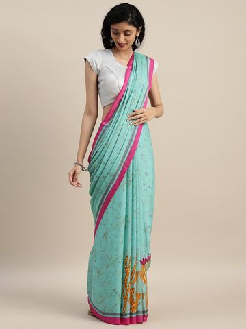 Vastranand | VASTRANAND  Blue Abstract Printed Pure Crepe Saree