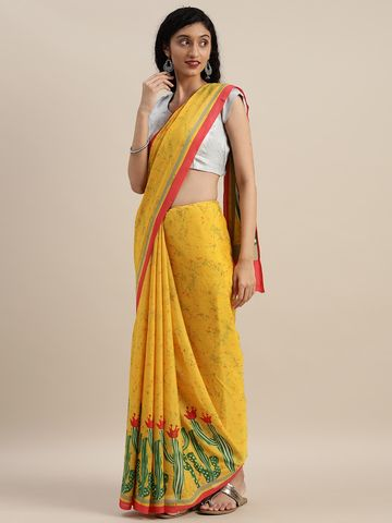 Vastranand | VASTRANAND  Yellow & Green Pure Crepe Abstract Printed Saree