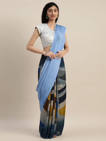 Vastranand | VASTRANAND  Blue & Mustard Yellow Pure Crepe Printed Half and Half Saree