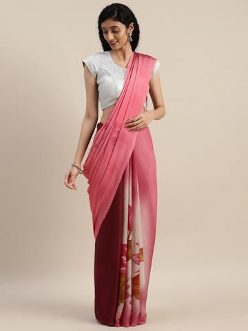 Vastranand | VASTRANAND  Pink & Maroon Pure Crepe Printed Saree
