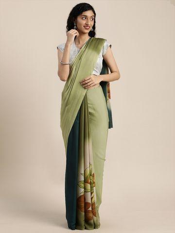 Vastranand | VASTRANAND  Green & Beige Pure Crepe Printed Saree