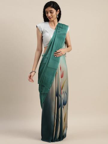 Vastranand | VASTRANAND  Teal Green & Blue Pure Crepe Printed Saree