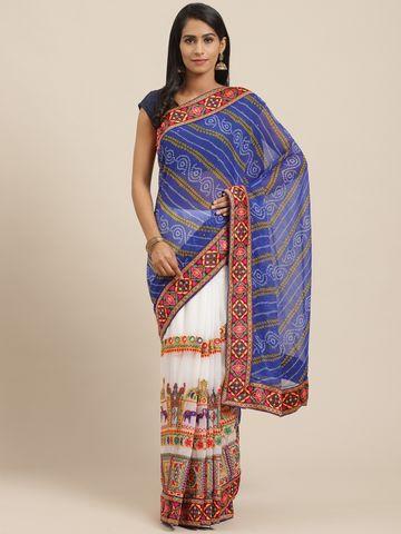 Vastranand | VASTRANAND Blue & White Printed Half & Half Bandhani Saree