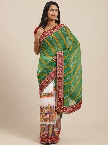 Vastranand | VASTRANAND Green & White Printed Half & Half Bandhani Saree