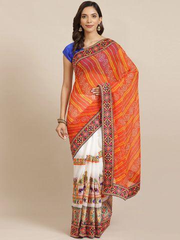 Vastranand | VASTRANAND Orange & White Printed Half & Half Bandhani Saree