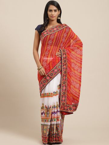 Vastranand | VASTRANAND Red & White Printed Half & Half Bandhani Saree