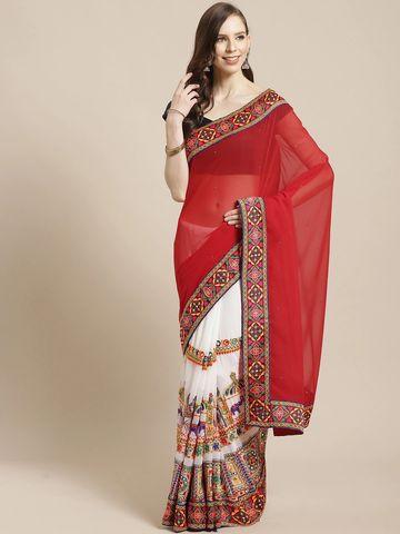 Vastranand | VASTRANAND Red & White Half & Half Embellished Saree