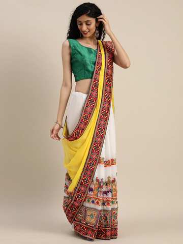 Vastranand | VASTRANAND  Yellow & White Georgette Embroidered Half & Half Saree
